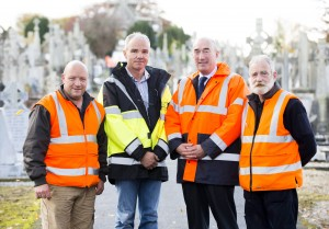 28/10/2015  Over 40 staff from Limerick Civic Trust conducted a giant clean-up of Mount Saint Lawrence Cemetery in advance of All Souls Day.  Pictured are, from left to right, Bernard O'Reilly, supervisor, Brian Henry, Limerick City and County Council, David O'Brien, Limerick Civic Trust, and Ger Imbusch, Limerick Civic Trust.  The Mass Clean-Up was part of ongoing work by Limerick Civic Trust in Mount Saint Lawrence Cemetery.  Staff at the Trust have already restored and repaired 50 graves and tended to over 150 graves in Mount Saint Lawrence.   Limerick Civic Trust is also involved with the restoration of the Mortuary Chapel at Mount Saint Lawrence cemetery.  Work is progressing steadily with the total restoration and refurbishment of the apse roof near completion. The Limerick Civic Trust, which was formally constituted in 1983, is an independent, non-profit making voluntary society. It is mainly supported from donations by industry, business, charitable trusts and individuals. Its mission is to improve Limerick's city environment through positive action.  Picture credit: Diarmuid Greene/Fusionshooters