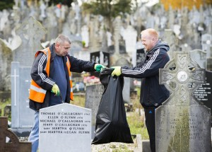 28/10/2015  Over 40 staff from Limerick Civic Trust conducted a giant clean-up of Mount Saint Lawrence Cemetery in advance of All Souls Day.  The Mass Clean-Up was part of ongoing work by Limerick Civic Trust in Mount Saint Lawrence Cemetery.  Staff at the Trust have already restored and repaired 50 graves and tended to over 150 graves in Mount Saint Lawrence.   Limerick Civic Trust is also involved with the restoration of the Mortuary Chapel at Mount Saint Lawrence cemetery.  Work is progressing steadily with the total restoration and refurbishment of the apse roof near completion. The Limerick Civic Trust, which was formally constituted in 1983, is an independent, non-profit making voluntary society. It is mainly supported from donations by industry, business, charitable trusts and individuals. Its mission is to improve Limerick's city environment through positive action.  Picture credit: Diarmuid Greene/Fusionshooters