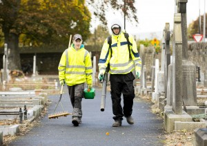 28/10/2015  Over 40 staff from Limerick Civic Trust conducted a giant clean-up of Mount Saint Lawrence Cemetery in advance of All Souls Day.  Pictured are Niall Healy, left, and Andrew Daly.  The Mass Clean-Up was part of ongoing work by Limerick Civic Trust in Mount Saint Lawrence Cemetery.  Staff at the Trust have already restored and repaired 50 graves and tended to over 150 graves in Mount Saint Lawrence.   Limerick Civic Trust is also involved with the restoration of the Mortuary Chapel at Mount Saint Lawrence cemetery.  Work is progressing steadily with the total restoration and refurbishment of the apse roof near completion. The Limerick Civic Trust, which was formally constituted in 1983, is an independent, non-profit making voluntary society. It is mainly supported from donations by industry, business, charitable trusts and individuals. Its mission is to improve Limerick's city environment through positive action.  Picture credit: Diarmuid Greene/Fusionshooters