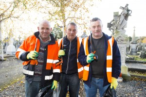 28/10/2015  Over 40 staff from Limerick Civic Trust conducted a giant clean-up of Mount Saint Lawrence Cemetery in advance of All Souls Day.  Pictured are, from left to right, Michael Duggan, Patrick Hogan, and Martin Lyons.  The Mass Clean-Up was part of ongoing work by Limerick Civic Trust in Mount Saint Lawrence Cemetery.  Staff at the Trust have already restored and repaired 50 graves and tended to over 150 graves in Mount Saint Lawrence.   Limerick Civic Trust is also involved with the restoration of the Mortuary Chapel at Mount Saint Lawrence cemetery.  Work is progressing steadily with the total restoration and refurbishment of the apse roof near completion. The Limerick Civic Trust, which was formally constituted in 1983, is an independent, non-profit making voluntary society. It is mainly supported from donations by industry, business, charitable trusts and individuals. Its mission is to improve Limerick's city environment through positive action.  Picture credit: Diarmuid Greene/Fusionshooters