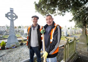 28/10/2015  Over 40 staff from Limerick Civic Trust conducted a giant clean-up of Mount Saint Lawrence Cemetery in advance of All Souls Day.  Pictured are Jason Hanlon, left, and John Leo.  The Mass Clean-Up was part of ongoing work by Limerick Civic Trust in Mount Saint Lawrence Cemetery.  Staff at the Trust have already restored and repaired 50 graves and tended to over 150 graves in Mount Saint Lawrence.   Limerick Civic Trust is also involved with the restoration of the Mortuary Chapel at Mount Saint Lawrence cemetery.  Work is progressing steadily with the total restoration and refurbishment of the apse roof near completion. The Limerick Civic Trust, which was formally constituted in 1983, is an independent, non-profit making voluntary society. It is mainly supported from donations by industry, business, charitable trusts and individuals. Its mission is to improve Limerick's city environment through positive action.  Picture credit: Diarmuid Greene/Fusionshooters